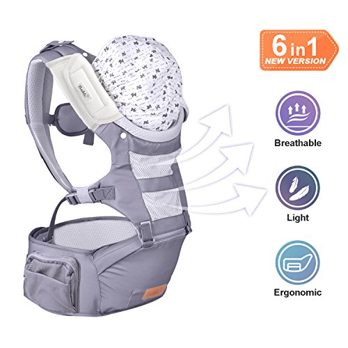 Bable Baby Carrier with Hip Seat, 6-in-1 Convertible Carrier, 360 Ergonomic Baby Carrier Backpack, Cool MESH for Spring and Summer - for 8-33lbs - Baby Wrap Carrier, Baby Carriers Front (Ergonomic Baby Carrier)