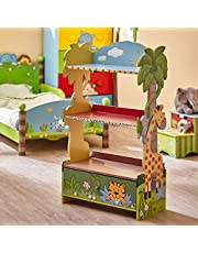 Fantasy Fields - Sunny Safari Animal Wooden 3 Shelves Kids Bookshelf with 1 Drawer Storage , Imagination Inspiring Hand Crafted & Hand Painted Details , Non-Toxic, Lead-Free Water-based Paint - Blue & Green