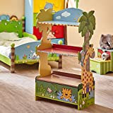Fantasy Fields W-8268A  Sunny Safari Hand Crafted Kids Wooden Bookshelf, Green, 21.9 x 11.5 x 38