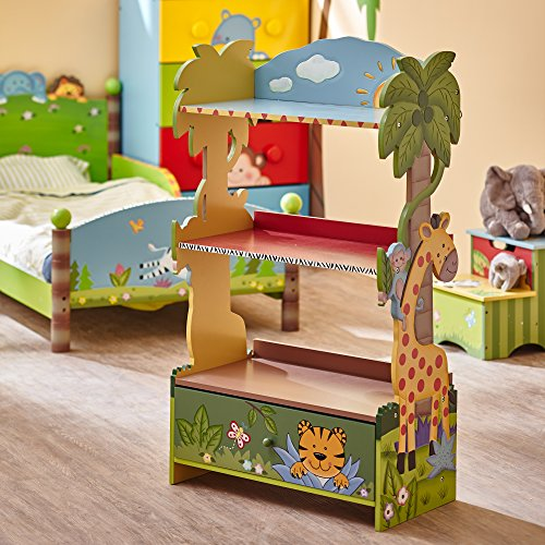 Fantasy Fields - Sunny Safari Wooden Kids Bookshelf with Hand Crafted Designs & Toy Storage - Green (Baby Bookcase)