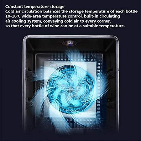 Vinoteca De 12 Botellas, 33L Nevera Para Vinos, Panel Táctil, Iluminación De La Pantalla LCD 70 W De Temperatura Ajustable De 5 A 18 ° C, Puerta De Cristal Silenciosa Resistente A Los Rayos UV
