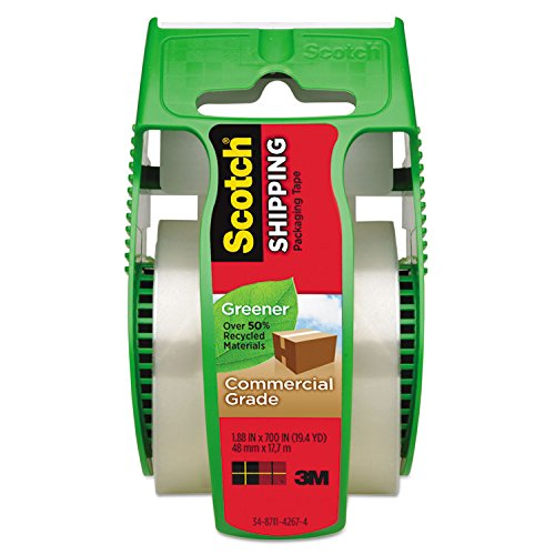 Scotch Greener Commercial Grade Shipping Packaging Tape with Dispenser, 1.88 x 700 Inches (175G)