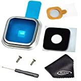 Mudder Back Rear Camera Lens Cover Ring Replacement + Adhesive + Screw + Screwdriver + Cleaning Cloth for Samsung Galaxy S5 SV I9600 G900 G900A G900V G900T G900P G900F G900H G900I (Silver)