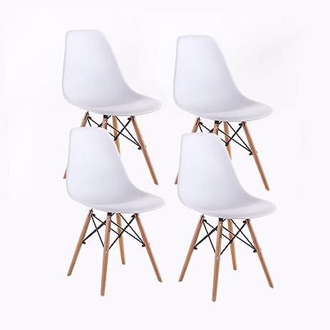 Eames Chair Santang Plastic Eames Dining Chair White Eames Eiffel Chair  With Natural Legs Set Of