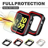 Apple Watch Case 42mm, IC ICLOVER Shock Resistant Silicone Bumper iwatch Case + 9H Clear Tempered Glass Screen Protector for Apple Watch Series 3, Series 2, Series 1, Nike+,Sport, Edition-Red/Black