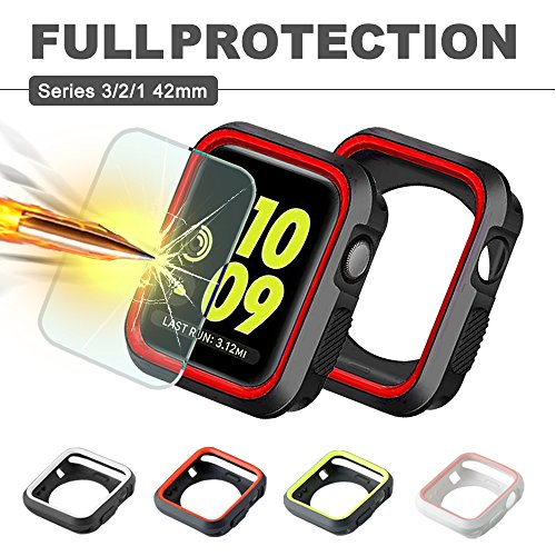 Apple Watch Case 42mm, IC ICLOVER Shock Resistant Silicone Bumper iwatch Case + 9H Clear Tempered Glass Screen Protector for Apple Watch Series 3, Series 2, Series 1, Nike+,Sport, Edition-Red/Black by IC ICLOVER