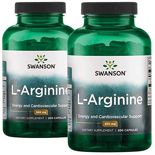 (Swanson L-Arginine Essential Amino Acid Energy Cardiovascular Support Health Supplement (Free-Form Amino Acid, Nitric Oxide Precursor) 500 mg 400 Capsules (Caps) 2 Bottles)