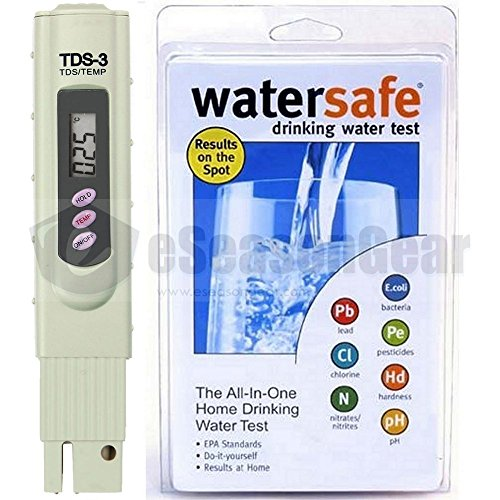 TDS-3 + WS-425B City, TDS ppm Tester + Watersafe Home Tap Drinking Water Test Kit, Bacteria, Lead, Pesticide, Nitrate / Nitrite, pH, Hardness, Chlorine (Tap Pond Water)