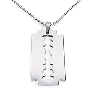 Stainless steel razor blade pendant men necklace 40mm amazon stainless steel razor blade pendant men necklace 40mm mozeypictures Gallery