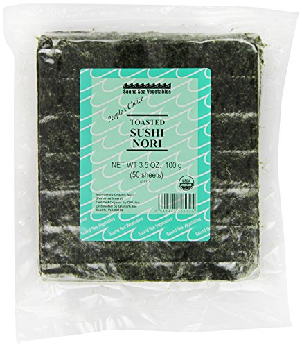 Sound Sea Vegetables Organic Toasted Sushi Nori (Bulk), 50 Sheets, - Sushi Seaweed Toasted
