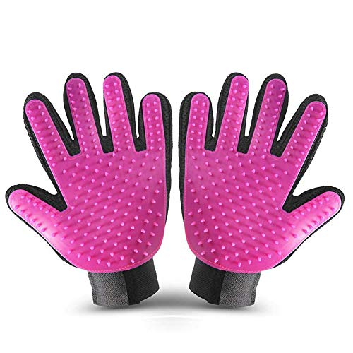 WLEJDDD Pet Cleaning Brush Glove Pet Dog Supplies Pet Cat Dog Brush Effective Massage Gloves Hair Cleaning Comb A65 Left and Right Pink M