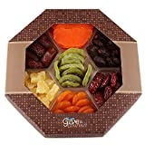 Assortment Of Dried Fruits Gift Basket (7 Section) - Array of Delicious Dried Medjool Dates, Apricot, Mission Figs, Kiwi, Mango, Pineapple, and Red Angelina Plums | Large Healthy Gift Basket