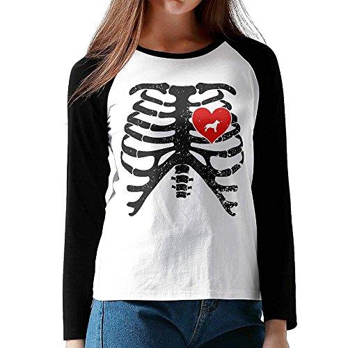 Women's Skeleton Rib Cage Costume Halloween With Pitbull Comfy Long-Sleeve T-Shirt Basic (Texas Tech Halloween Costumes)