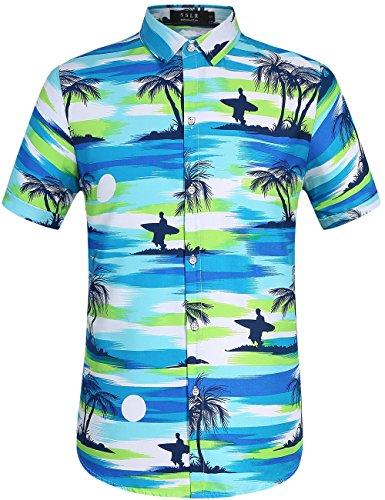 SSLR Mens Coconut Tree Button Down Casual Hawaiian Shirt