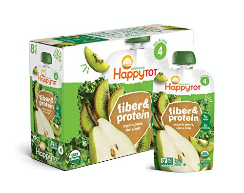 - Happy Tot Organic Stage 4 Fiber & Protein, Pears, Kiwi & Kale, 4 Ounce (Pack of 16)