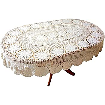 Ustide Vintage Handmade Crochet Oval Tablecloth White Cotton Lace Table  Overlays Elegant Wedding/Party Table