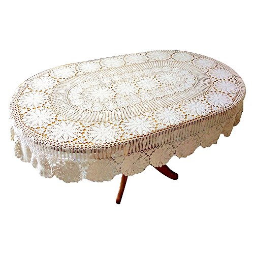 USTIDE Vintage Oval Crochet Tablecloth Beige Cotton Lace Table Cover Rustic Oval Table Overaly for Wedding/Party, 63