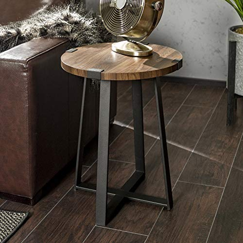 WE Furniture Rustic Farmhouse Round Metal Side End Accent Table Living Room, 18 Inch, Walnut Brown