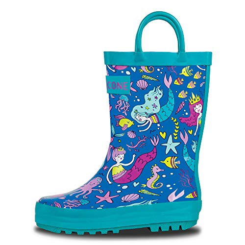 LONECONE Rain Boots with Easy-On Handles in Fun Patterns for Toddlers and Kids, Boot-iful Mermaids, 4 Toddler