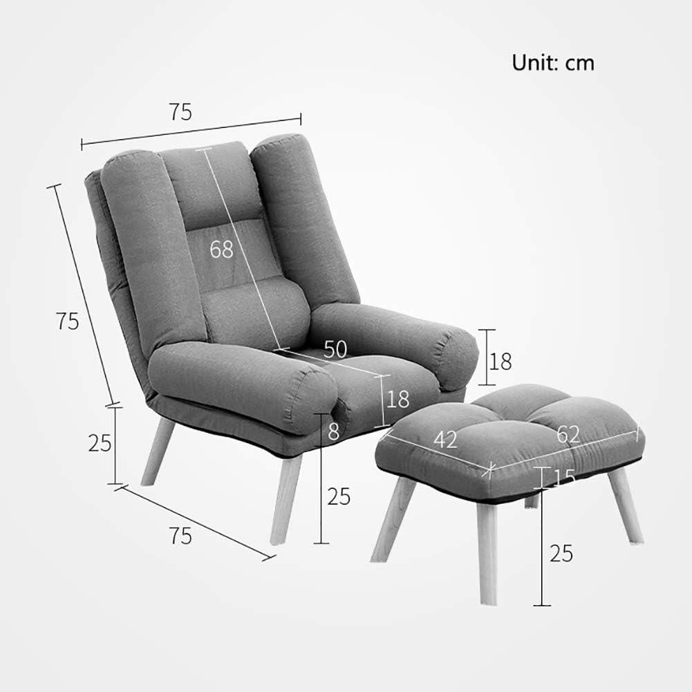 SAN_T Chaise de Sofa Simple Paresseux réglable Pliant l'allaitement Maternel canapé de Lecture de Chaise de Salon avec Le Repose-Pieds Khaki