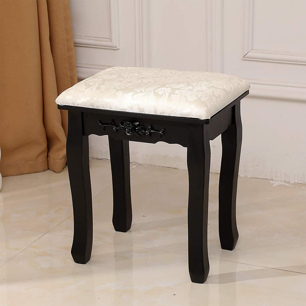 Vanity Stool Makeup Bench Dressing Stools, Retro Wave Foot Floor Pad Chair Piano Seat, Bathroom Bedroom Large Vanity Benches,Black by Sitelan