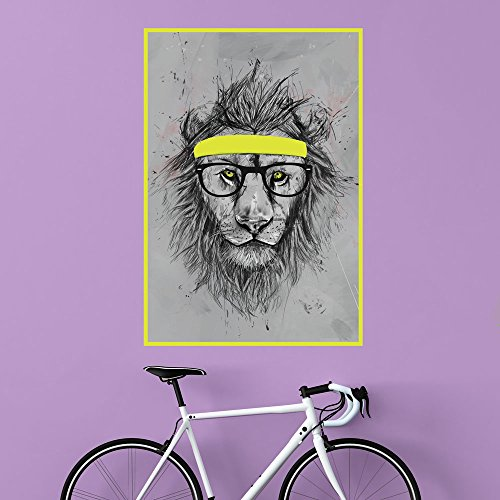 MyWonderfulWalls Hipster Lion Wall Decal Sticker Animal Art by Balázs Solti, Medium, Multicolored
