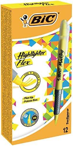 BIC Flex – Rotulador fluorescente amarillo [Pack de 12]: Amazon.es ...
