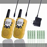 Kids Walkie Talkies Rechargeable Long Range 2 Pack for Kids Children Walky Talky Walkie Talkie 2 Way Radios Wireless with Rechargeable Batteries and Charger(Yellow)