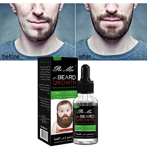 Beard Growth Oil, Beard Oil Conditioner Spray Beard Oil for Men All Natural Organic Promotes Beard Care Growth Softens Strengthens Beards and Mustaches for Men