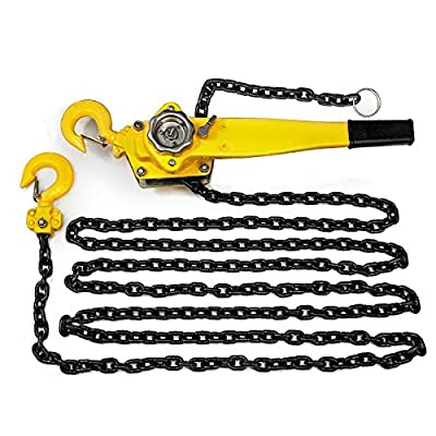 "KCHEX>1.5 Ton Lever Block Chain Hoist Ratchet Type Come Along Puller 20FT Lifter 1-1/2>20 foot lift 1/3"" chain diameter Mechanical load brake when lifting"