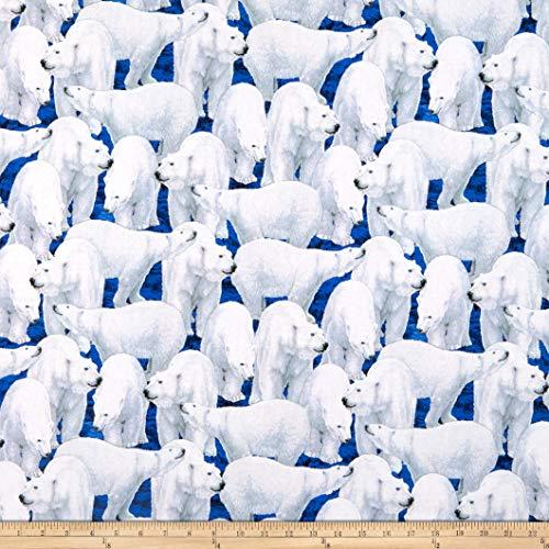 QT Fabrics  Northern Lights Polar Bears Midnight Fabric by the Yard