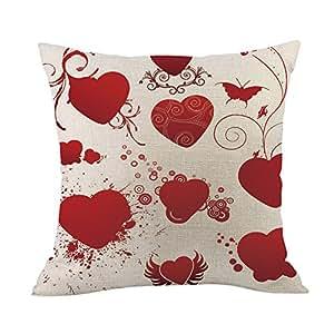 Auied - Funda de cojín con diseño de corazón Rojo, para ...