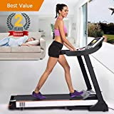 Domtie Black Folding Electric Fitness Treadmill Advanced-level Walking Running Machine with 10.1 inches Touch Screen for Gym Home