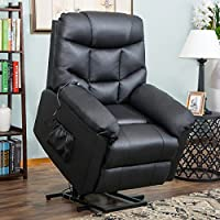 Harper&Bright Designs Power Lift Recliner Living Room Sofa Chair (Black PU) Soft Fabric