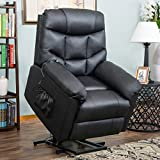 Harper&Bright Designs Power Lift Recliner Living Room Sofa Chair (Black PU) Soft Fabric For Sale