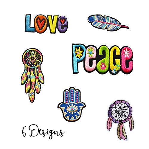- Gorgeous Embroidered Iron On Fashion Patches for Clothing and Deco. Exclusive Kit Decoration 6 Designs, BEE, Love, Peace, Feather, Fatima'S Hand and Dream Catcher Patch Pack 2. Assorted Size.