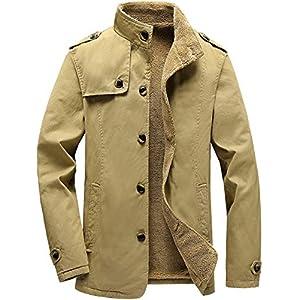 Vcansion Men's Winter Cotton Fleece Lined Jacket Coat Single Breasted Outerwear