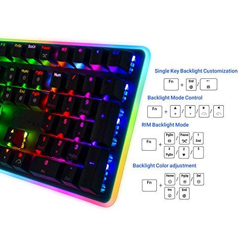 ارخص مكان يبيع Rosewill Mechanical Gaming Keyboard, RGB LED Glow Backlit Computer Mechanical Switch Keyboard for PC, Laptop, Mac, Software Customizable - Professional Gaming Blue Mechanical Switch