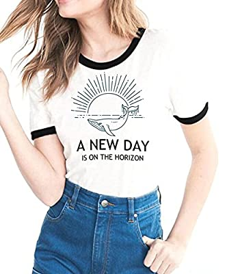 Womens Funny T Shirts Casual Graphic Short Sleeve A New Day Crew Neck Tops