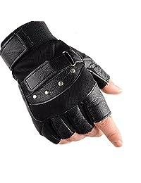 KUYOMENS Men's Cycling Half Finger Genuine Leather Gloves