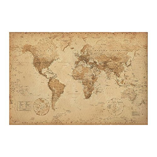 Map Old Poster World (World Map Antique Poster (24x36) PSA033313)