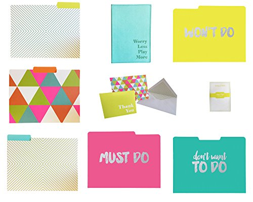Neon Desk Organization and Stationery Set