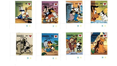 Disney - Sealed With A Kiss - Set of 8 Collectors Stamps - Dominica