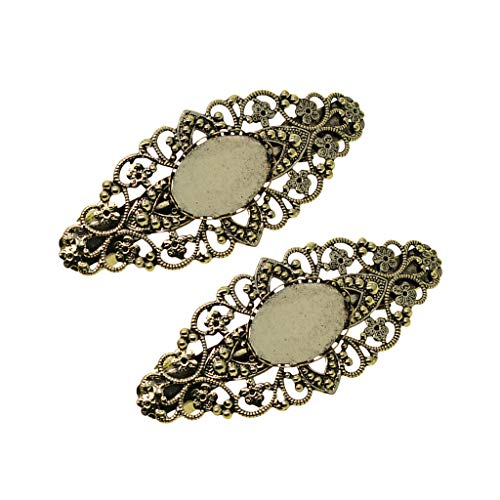 2pcs Antique Hollowed French Clip Barrette Cabochon Blank Setting Bases (Color - Bronze)
