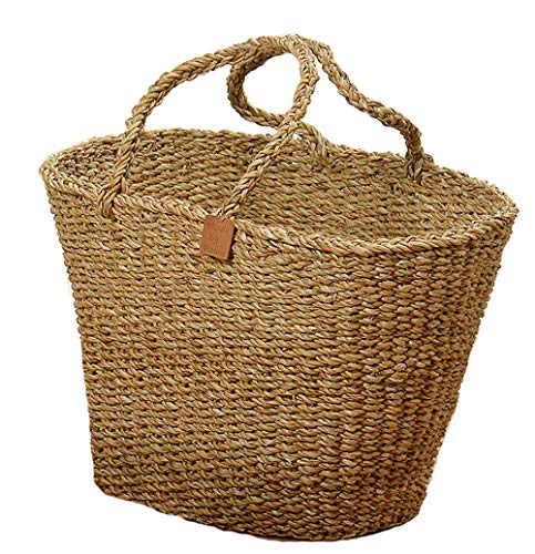 "The Made By Nature Basket Shopper Tote Bag, Beach Chic, Woven Seagrass, 21 5/8 D x 15 ¾ W x 13 H "" (55 x 40 x 33cm), By Whole House Worlds"