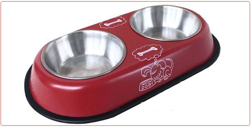 Red S Red S Double Dog Cat Bowls,Stainless Steel Cat Feeder and Waterer with No-Skid No-Spill Resin Station, Food Dispenser,Red,S