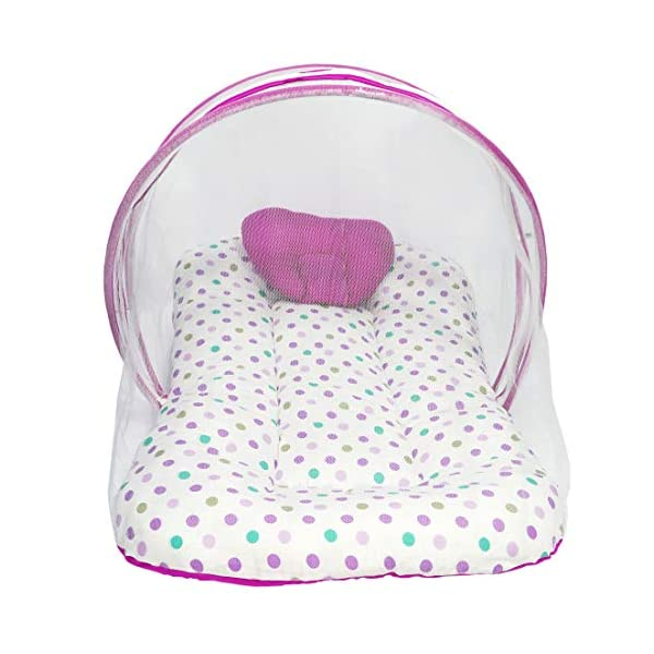 MOMY MOM Baby Bedding Set with Mosquito Net and Pillow/Infant Machardani/Newborn Net Bed; Thick Mattress, Cotton- 1-12… 2021 July MATERIAL : Cotton | Bedding Unfold Size- King Size 33x20 Cm (LxW) | The colour combination and the theme of the bedding set is adorable and attractive. Suitable for age upto 1 Year | Portable and foldable | Lightweight | Machine washable | Thick base Comes with Bedding and Mosquito Net: This bedding set comes with a pillow, bedding and mosquito net to provide insect protection to the baby when he or she is asleep. It has zippers which can be pulled up to secure the baby from any insects.