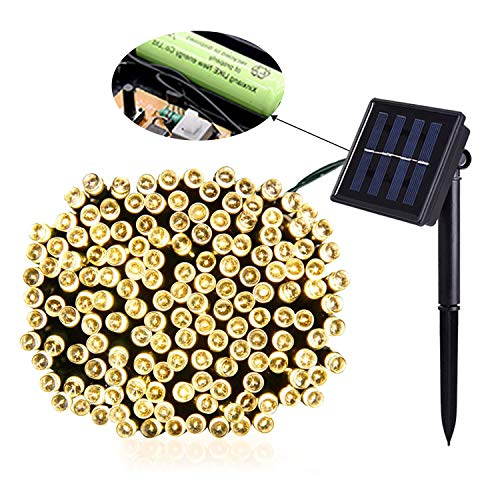 Jiamao 2 Pack Solar String Light 100LED 42.7ft 8 Modes Solar Christmas Lights Waterproof Outdoor Fairy String Lights for Gardens, Homes, Wedding, Party, Curtains, Outdoors (100LED2PACK, Warm White) by Jiamao (Image #1)
