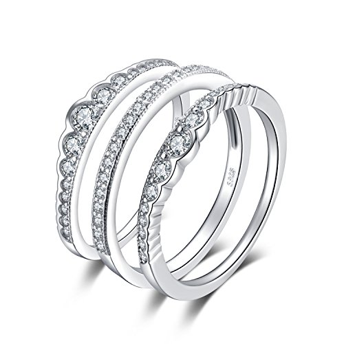 JewelryPalace 0.7ct Cubic Zirconia 3 Pcs Stackable Wedding Band Anniversary Engagement Ring Bridal Sets 925 Sterling Silver Size - Anniversary Stackable Wedding