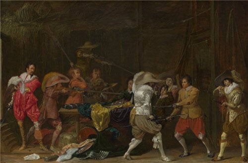 Oil Painting 'Willem Duyster Soldiers Fighting Over Booty In A Barn ' Printing On Polyster Canvas , 10 X 15 Inch / 25 X 39 Cm ,the Best Study Decoration And Home Gallery Art And Gifts Is This High Quality Art Decorative Canvas Prints